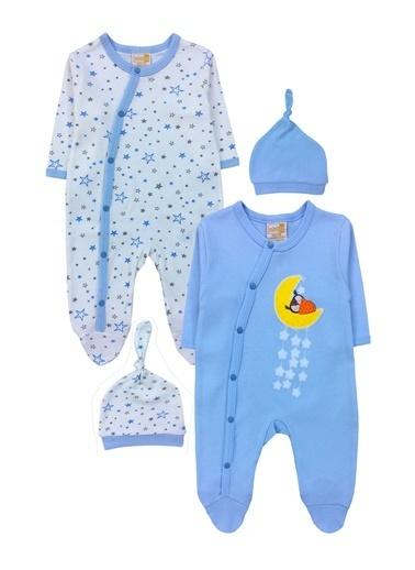 By Leyal For Kids Ay Ve Yıldızlar Detaylı  2Li Tulum Ve Şapka Takım-4493 Mavi